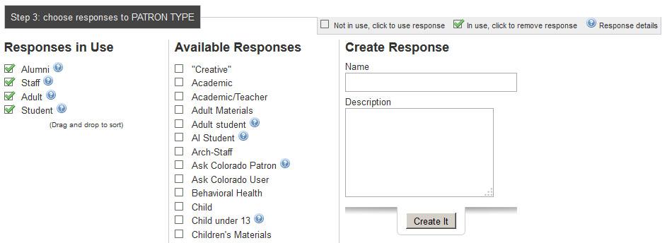 DART input form options