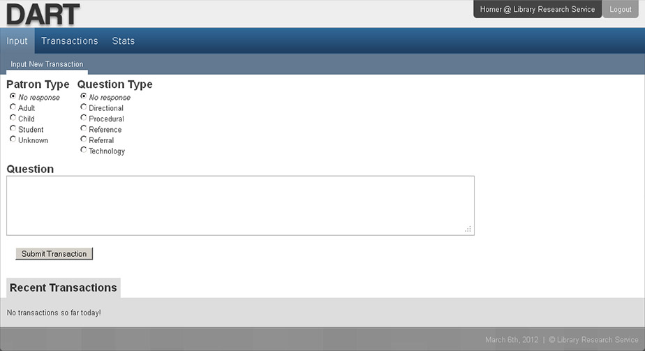 DART simple input form